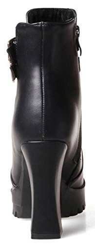 Heel Women's Chunky Toe Ankle Pointy Black Retro With Booties High Zipper Buckle Easemax Side High HqOBxHF
