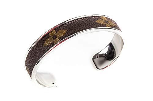- Handmade Cuff Bracelet with Re-purposed Designer Canvas 1/2