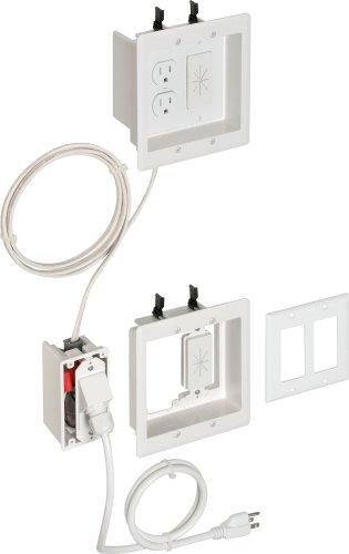 Arlington TVBRA2K-1 In-Wall Wiring Kit, Pre-Wired TV Bridge, 2-Gang Boxes, White, 1-Pack