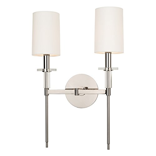 Hudson Valley Lighting 8512-PN Two Light Wall Sconce from The Amherst Collection, 2, Polished Nickel