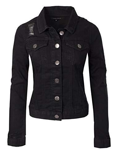 (Instar Mode Women's Classic Slim Fit Casual Vintage Destroyed Denim Jean Jacket Black L)