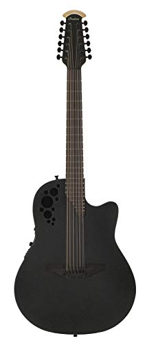 Ovation Mod TX Collection 12-String Acoustic-Electric Guitar, Textured Black, Deep Contour Body (2058TX-5)