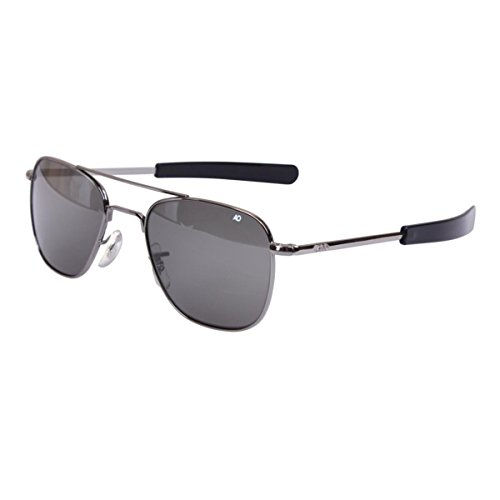 (AO Eyewear Original Pilot 55mm Black Frame with Bayonet Temples and True Color Grey Glass Lens)