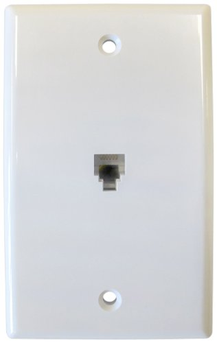 Flush Mount Smooth Wall Outlet Jack, 6 Conductor, 6 Position, Plastic, White, Single Gang, 1 Port