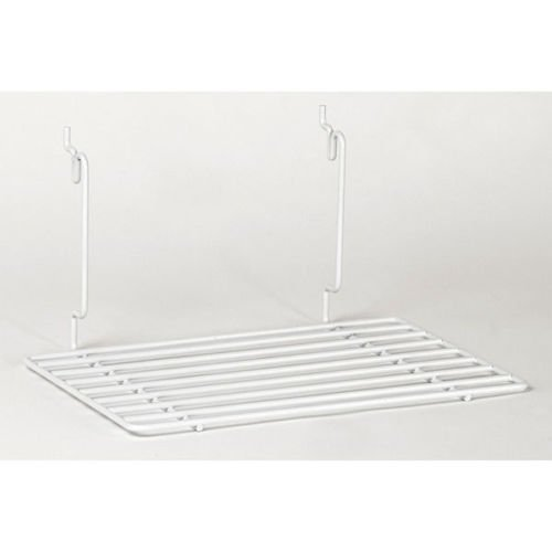 Count of 4 New White Flat shelf Fits Slatwall, Grid, Pegboard 12''w x 8''d by Flat shelf