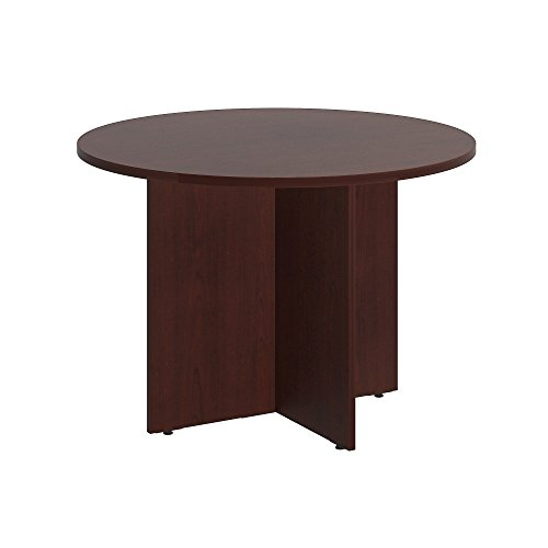 Bush Business Furniture 42W Round Conference Table with Wood Base in Harvest Cherry
