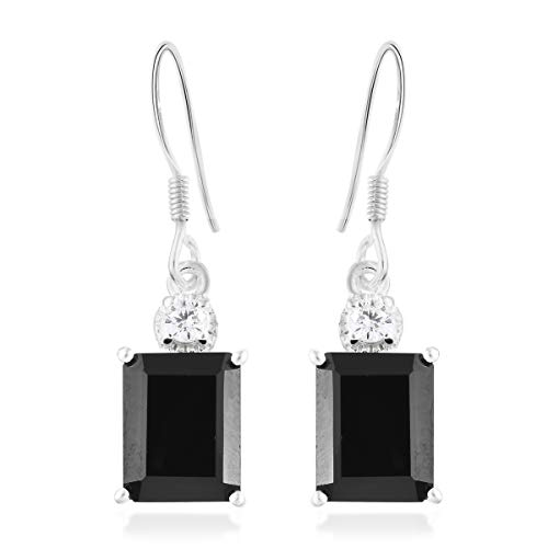 925 Sterling Silver Octagon Black Spinel Cubic Zirconia Earrings Cttw 6
