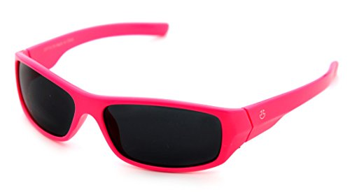 Kids Wraparound Sunglasses for Boys and Girls – Non Polarized Smoke Lenses With Gray Tint - Neon Pink - by Optix - Wrap Childrens Around Sunglasses