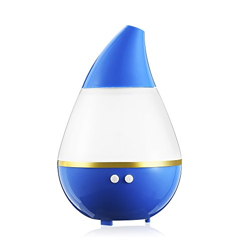 200ml Mini Water-drop Ultrasonic 5V DC USB Essential Oil Diffuser Air Humidifier Colorful Gradient LED Light Air Diffuser Purifier Atomizer for Car Office Home Bedroom Small Baby Room (Blue)
