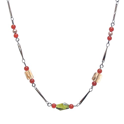 Carnelian Gemstone Necklace - Swarovski Crystals & Pearls, Gunmetal Tone Column Chain, (Swarovski Polygon Crystal)