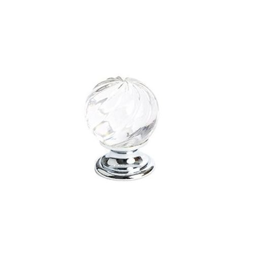 Berenson 2116US15 Europa Round Cabinet Knob, 30mm Diameter, Silver/Clear Crystal