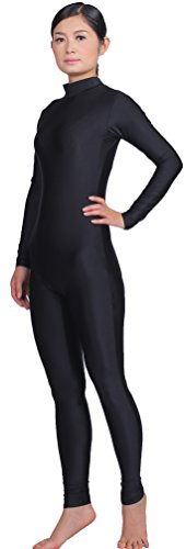 Speerise Adult High Neck Zip One Piece Unitard Full Body Leotard, S, Black