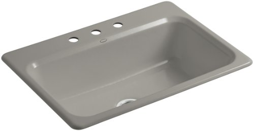 Kohler K-5832-3-K4 Bakersfield Self-Rimming Kitchen Sink with Three-Hole Faucet Drilling, - Cashmere Bowl Self Rimming