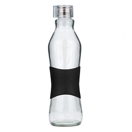 Grip & Go Glas 1L Wasserflasche / Kühlschrank Flasche - Silikon-Kegeldichtung Klaren Kunststoffdeckel - SCHWARZE