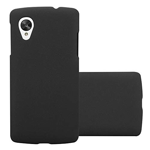 Cadorabo Case Works with LG Nexus 5 in Frosty Black - Shockproof and Scratch Resistent Plastic Hard Cover - Ultra Slim Protective Shell Bumper Back Skin (Nexus 5 Bumper Case Black)