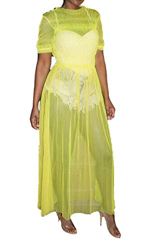 (Women Tulle Tiered Maxi Dress Elegant Short Sleeve Round Neck See Through Mesh Ruffle Cocktail Evening Party Fit and Flare Long Dresses Clubwear Outfits Yellow, X-Large)