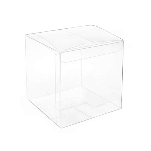 Clear Plastic Box 2x2x2 inch for Gift Candy Treat Cupcake Transparent Packing Box Party Favors 50pc by MOWO ()