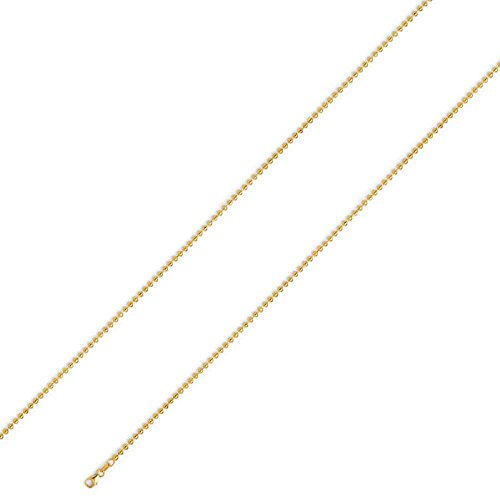 14K Yellow Gold Men's 4MM Plain Dog Tag Chains Lobster Clasp, 18 to 24 Inches (20) by Jawa Fashion