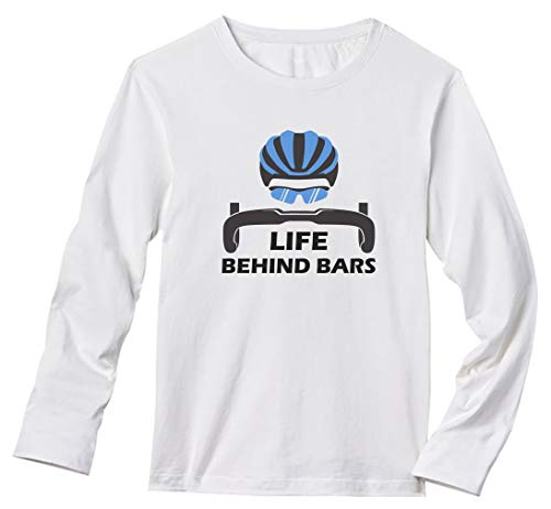 Life Behind Bars - Best Gift for Bicycle Riders Funny Bike Long Sleeve T-Shirt X-Large White ()
