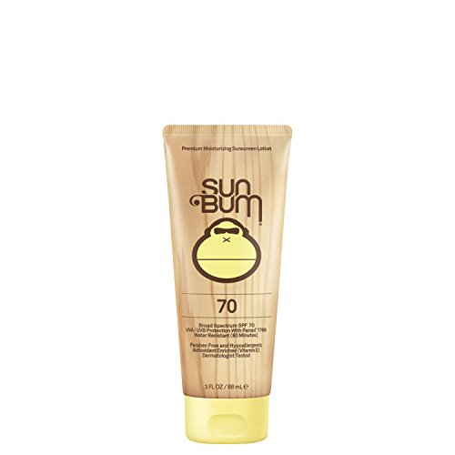 - Sun Bum Original Moisturizing Sunscreen Lotion, SPF 70, 3 oz. Tube, 1 Count, Broad Spectrum UVA/UVB Protection, Hypoallergenic, Paraben Free, Gluten Free