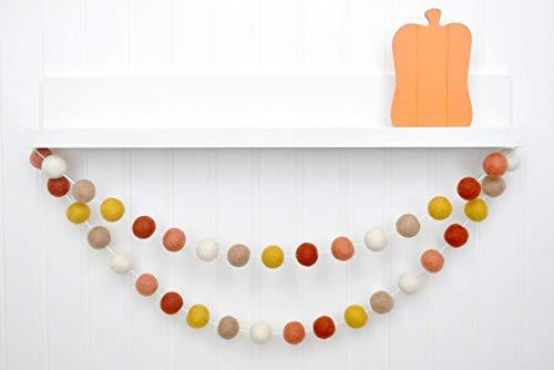 (Coral Orange Mustard Brown Felt Ball Garland, Pom Pom Banner, Thanksgiving Decorations, Fall Decor)