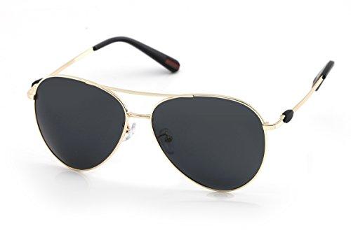 Orangecirle Aviator Sunglasses For Men Polarized Metal Frame For Cycling (Black lens & Gloden frame)