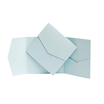 Einladungen puderblau Perlglanz 144 x 144/mm von Pocketfold Invites blau