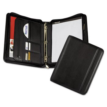 Samsill Professional Zippered Pad Holder/Ring Binder, Pockets, Writing Pad, Vinyl Black by Samsill
