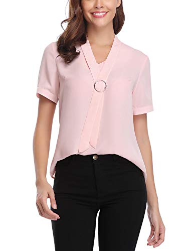 iClosam Women Casual Bow Tie Chiffon V-Neck Cuffed Sleeve Blouse Tops (#1 Rose Pink, Large)