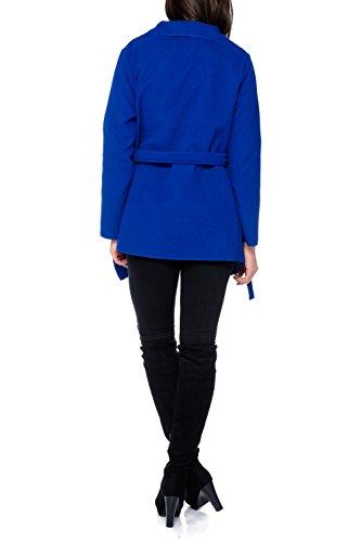 Kendindza chaqueta Abrigo de la capa de las mujer señoras gabardina con cinturón Onesize largo y corto Royalblau Kurz
