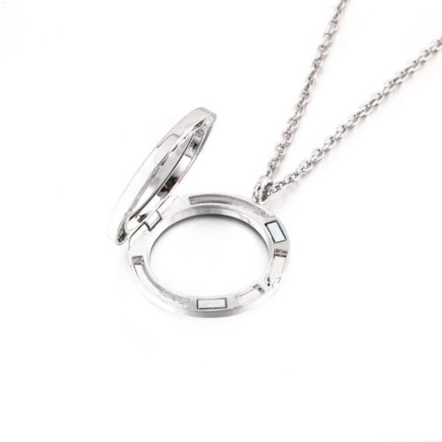 Alicenter(TM) New Charm Living Memory Floating Glass Round/Heart Locket Pendant Necklace