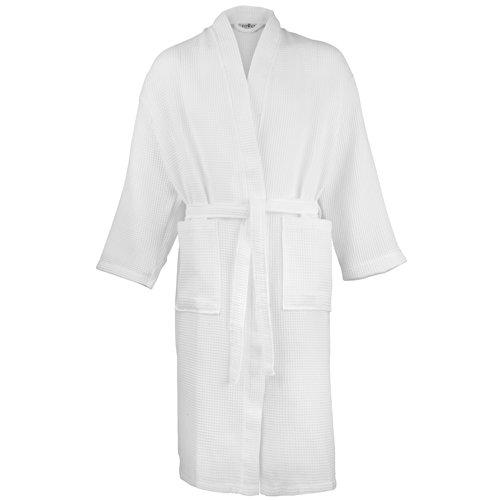 Ciudad de Nueva Toalla Waffle Albornoz albornoz Rizo tradicional baño Robes blanco