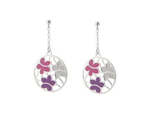 Fronay Co Etruscan Rose & Purple Flower Earrings in Sterling Silver