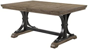 Roundhill Furniture Birmingham Dining Table, Driftwood Finish