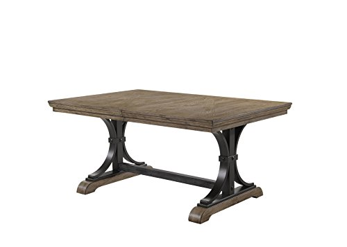 Roundhill Furniture T428 Birmingham Dining Table, Driftwood Finish (With Leaf Table Dining Rustic)