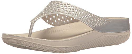 (FitFlop Women's Ringer Welljelly Flip Flop, Silver, 7 M US)