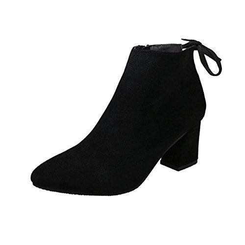 Malloom® Frauen Stiefel Platz Heel Lace up Stiefeletten Martin High Heels Plateaustiefel Dicke Fersenriemen Fersen Schwarz