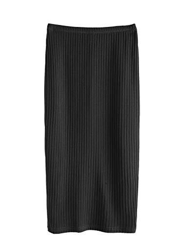SheIn Women's Basic Plain Stretchy Ribbed Knit Split Full Length Skirt Black Medium