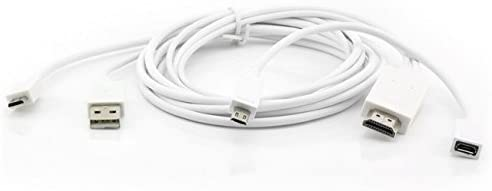 Saxonia - MHL a HDMI cable adaptador para smartphones Samsung Galaxy, Tablets (microUSB 5/11 pines) Full HD/Color De Transferencia De Imagen + sonido blanco Weiß Samsung: Amazon.es: Electrónica