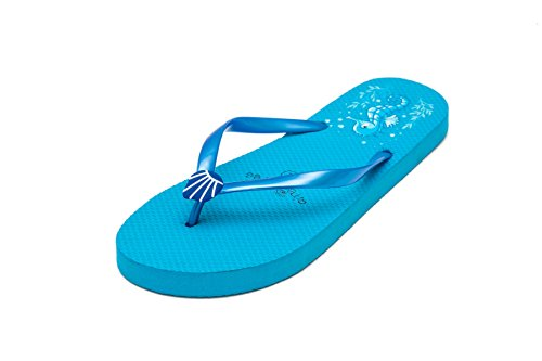 Pattern Flip Seahorse Womens Pool Summer Beach Shoes Blue Ladies Flops x6q7Af