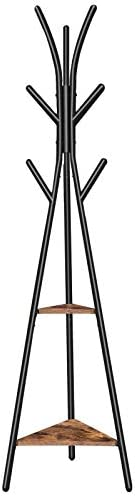 HOOBRO Coat Rack Stand, Hall Tree with 2 Storage Shelves and 9 Hooks, Coat Tree Free Standing for Coats, Clothes, Hats, Bags, Stable, Easy Assemble, Metal Frame, Rustic Brown BF80YM01