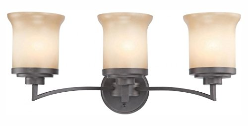 Harmony - 3 Light Vanity Fixture W/ Saffron Glass - Harmony 3 Light Vanity