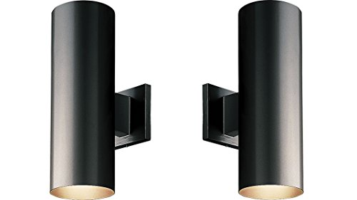 5-Inch Up/Down Cylinder with Heavy Duty Aluminum Construction and Die Cast Wall Bracket Powder Coated Finish UL Listed For Wet Locations, Black - 2-Pack