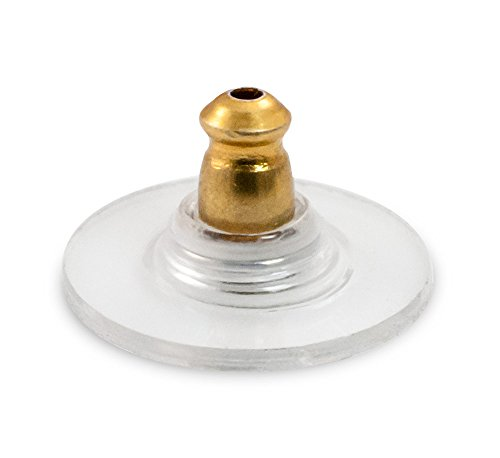 Ear Back and Plastic Comfort Disc with Gold Plated Surgical Steel Base (10-Pcs)