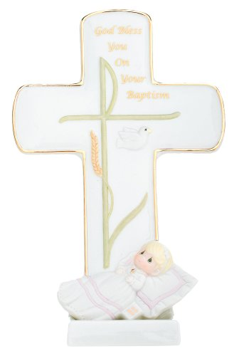 Girl Porcelain Cross (Precious Moments, God Bless You On Your Baptism, Bisque Porcelain Cross With Stand, Girl, 834019)