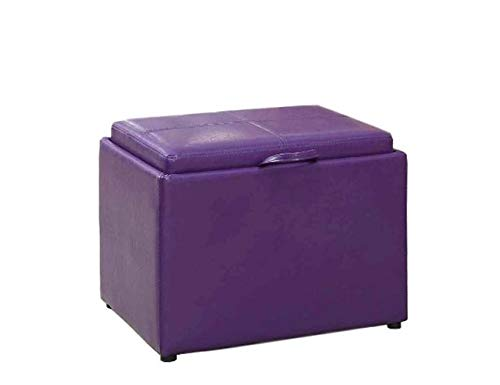 GT Ottoman Storage Containers Purple Upholstered Stool Bench Home Ottoman Tray Lid Tufted Furniture Ottoman Bench Seat Living Room & E Book Easy 2 Find. by GT
