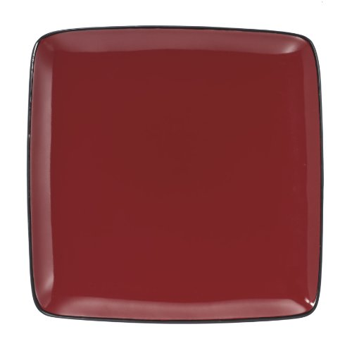 Cuisinart CDST1-DPR Melle Collection Stoneware Open Stock Square Dinner Plate, 10.5-Inch, Red