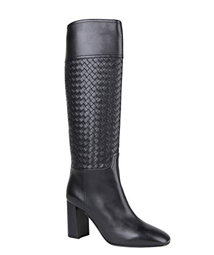 Bottega Veneta Women Black Heels Leather Boot with Woven Detail 389229 1000 (G 40 / US 10)