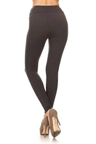 Leggings Depot YOGA Waist REG/PLUS Women's Buttery Soft Solid Leggings 16+Colors (Plus (Size 12-24), Charcoal)
