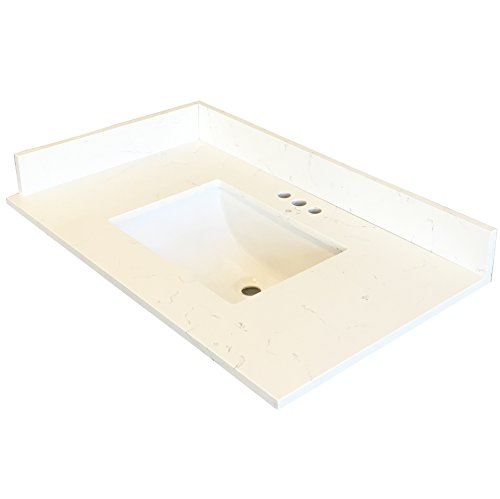 Home Depot Undermount Sinks - 31-Inch Quartz Vanity Top with under-mount sink - Modern White Carrara